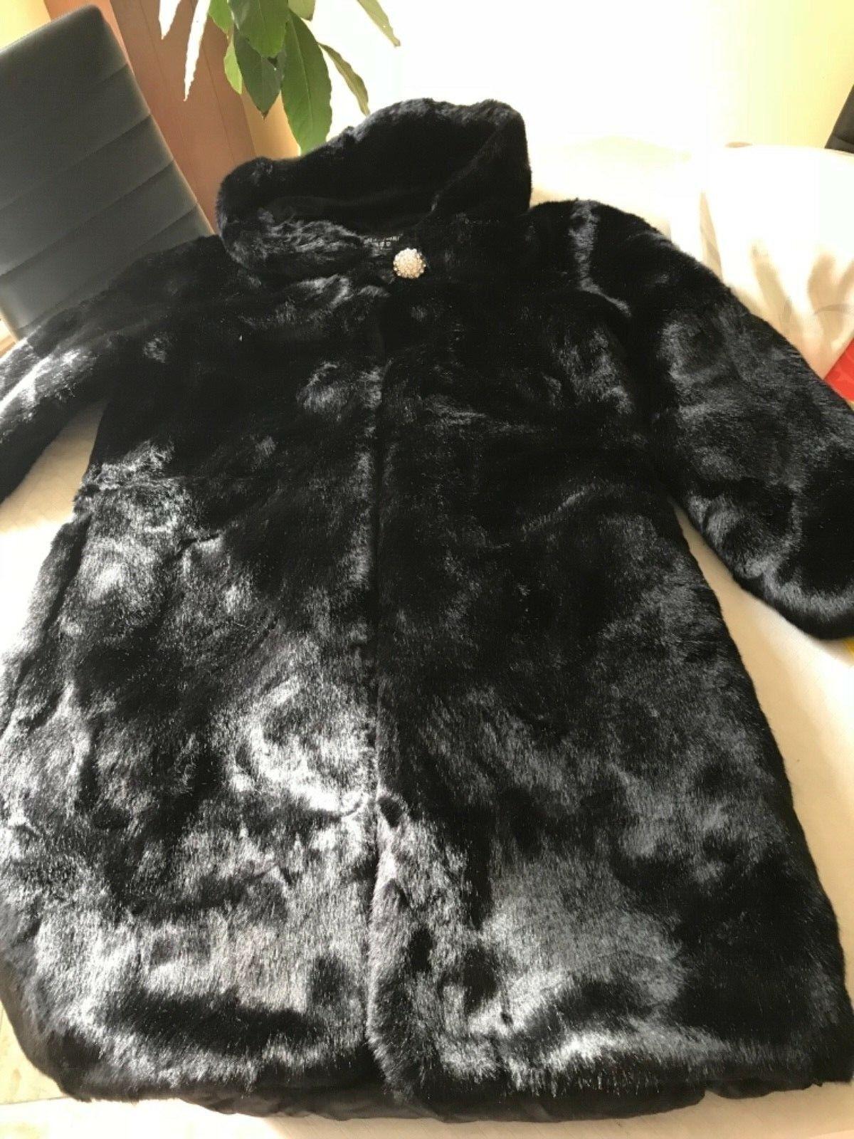 Women Winter Faux Sheared Mink Fur Hooded Hooded Hooded Mid Long Coat 2150f5