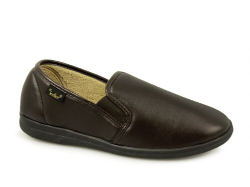 Dr Keller CHRISTOF Mens Smooth Faux Leather Slip On Wide Full Slippers Brown