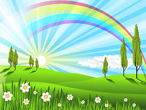 Image Is Loading Rainbow Artwork Large Rainbow Wall Decal Cartoon Artwork