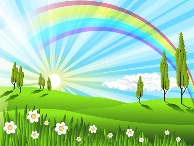 Reusable & Re-Positional Large Wall Decals-Rainbow Field Nature Artwork Cartoon