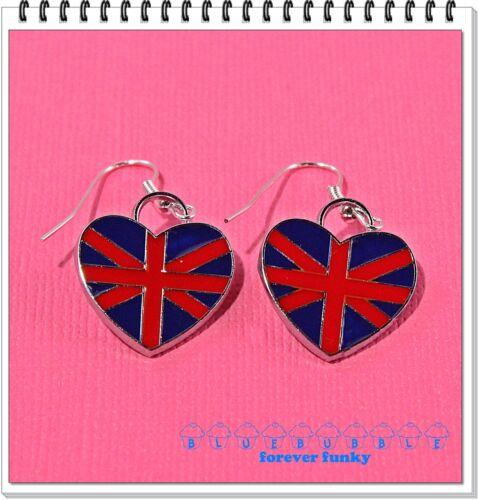 FUNKY UNION JACK HEART EARRINGS CUTE KITSCH BRITISH LOVE LONDON RED BLUE FLAG
