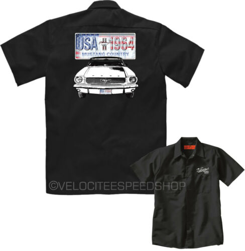 Velocitee da Uomo Meccanico Work Shirt Classic/'64 Ford Mustang Muscle Car A11000