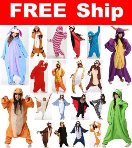 Hot Unisex Adult Pajamas Kigurumi Cosplay Costume Animal Sleepwear Suit