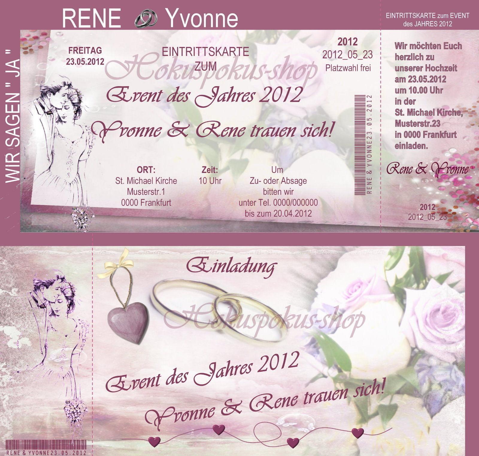 Stabile Einladungskarten m. Abriss Hochzeit Einladungen Eintrittskarten 2seitig