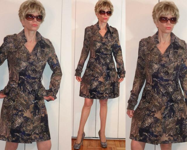 ALBERTO MAKALI AVANT-GARDE MULTICOLOR SPOTTED PRINT ONE OF A KIND TRENCH COAT 4