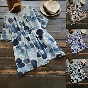 Plus-Size-Women-Summer-Short-Sleeve-Floral-T-Shirt-Casual-Loose-Blouse-Tunic-Top