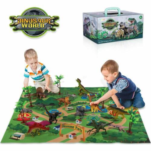 educativo realistico TEMI Dinosauro Giocattoli Figure con attività tappeto di gioco /& Alberi