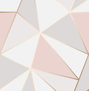Image Is Loading Rose Gold Pink Geometric Wallpaper 3d Apex Triangle