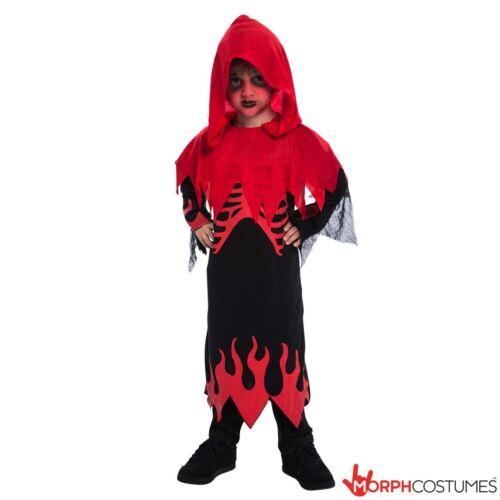 Vente Kids Rouge Squelette Costume Robe Fantaisie Garçons Pour Halloween Robe /& Capuche