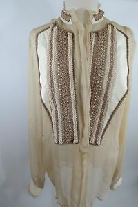 JUST-CAVALLI-Cream-Color-leather-Trim-Long-Sleeve-Silk-Blend-Size-42W