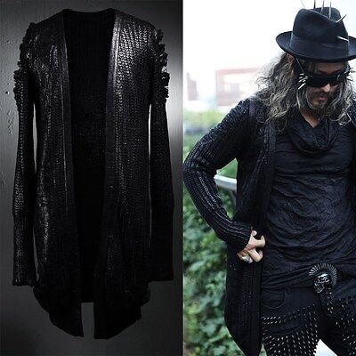 BytheR Men'sDamaged Stylish Chic Black All Over Coated Knit Cardigan P000BFCN AU
