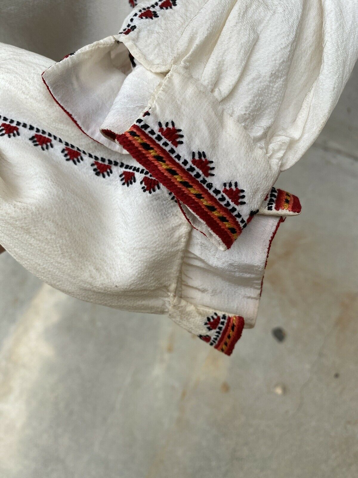 Antique 1930s White Silk Peasant Blouse Red Wool … - image 12