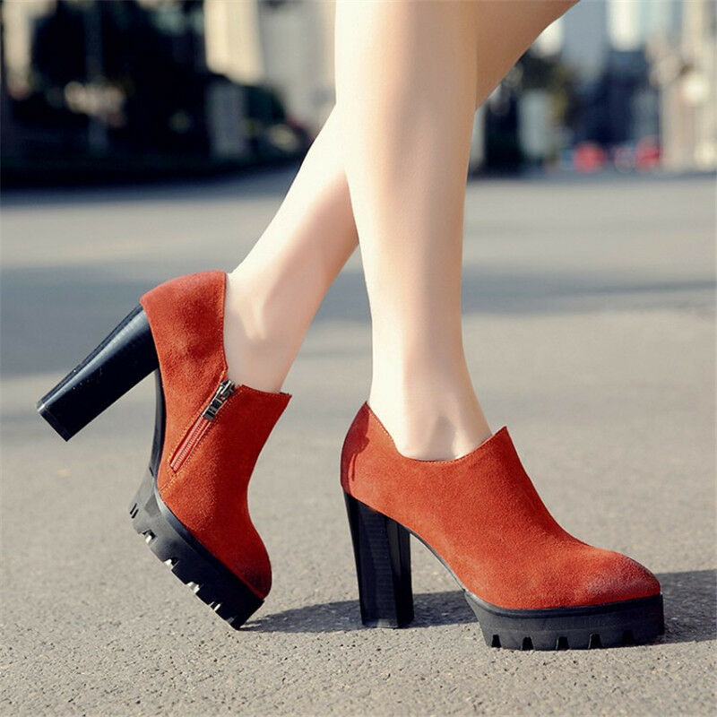Womens Pointed Toe Suede Chunky Heels Ankle Boots Fashion Low Top shoes Side zip