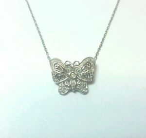 c4a4485f2ecad Details about 14K WHITE GOLD AND DIAMOND BUTTERFLY PENDANT AND NECKLACE