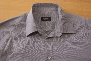 Q165-Hugo-Boss-Groesse-40-Langarm-grau-Herrenhemd-Herren-Hemd