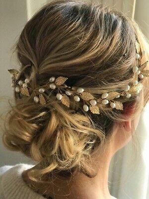 Haarschmuck Brautschmuck Hochzeit Haarkette Haarband Haardraht Gold Haarranke