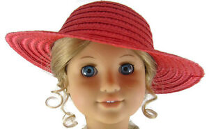 """Doll Clothes fits 18"""" American Girl Patriotic Red Straw Sun Hat Accessories"""