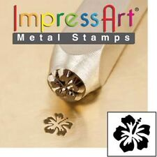 Metal stamp, punch, hibiscus, flower, floral - 6mm