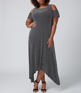 2062042d3d5b1 LANE BRYANT WOMEN S BLACK WHITE STRIPED COLD SHOULDER MAXI DRESS ...