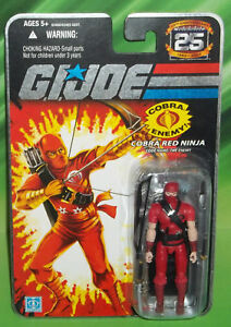 G I GI JOE 25TH ANNIVERSARY FOIL CARD COBRA RED NINJA  FIGURE MOC