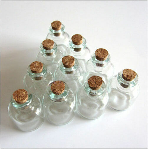 Lots 10 Pcs 22x28mm Empty Tiny Small Clear Cork Message Glass Bottles Vials 4ml