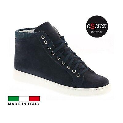 Bello Scarpe Sneakers Uomo Alte Camoscio Blu Polacchine Stringate Jeans Estate Esprez Sconto Online