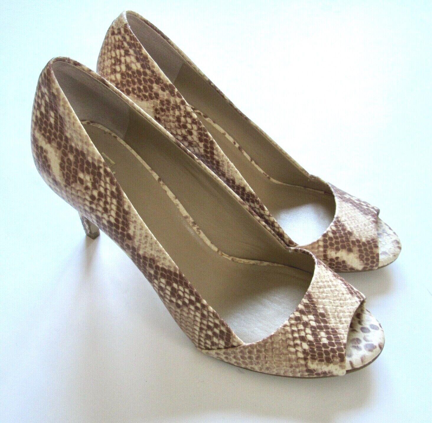 Ann Taylor Women's Leather Tan Brown Snake Print Heels Pumps Open Toe 9 M