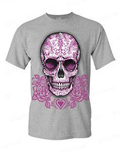 Sugar-Skull-Cross-Pink-Roses-T-Shirt-Day-of-the-Dead-Los-Muertos-Halloween-Tees