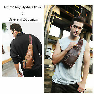 Men-039-s-Genuine-Leather-Sling-Chest-Shoulder-Cross-Body-Cycle-Day-Packs-Sport-Bag