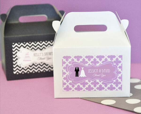 Personalized Themed Mini Gable Wedding Favor Container Boxes 48, 96, 144, 192