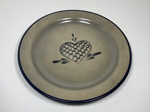 "Rowe Pottery Works 10"" Lattice Heart Dinner Plate Salt Glazed Vitrified"
