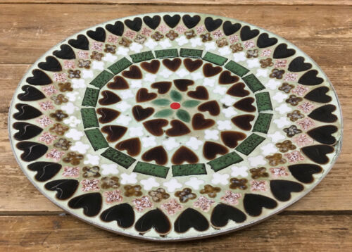 Green Brown White Hearts Enamel on Metal MCM MOD Large Plate Bovano Bower 11""