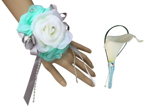 Wrist Corsage and Boutonniere 2pc Set BCset-05 Aqua//Mint Green and Ivory