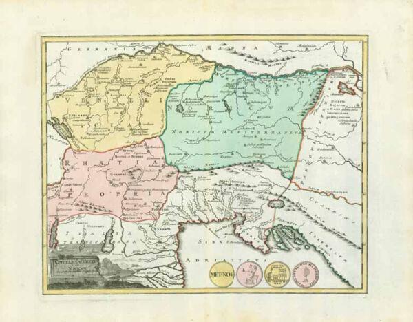 "Aufrichtig ""vindelicia Rhetia Et Noricum"" - Krain - Istrien - Oesterreich - Danube - Donau"