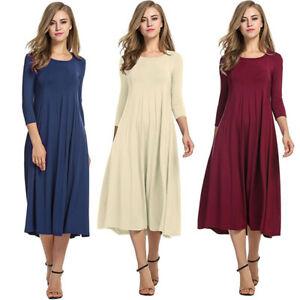 Women-Long-Sleeve-Shirt-Long-Maxi-Dress-Flared-Swing-Skater-Midi-Dress-Sundress