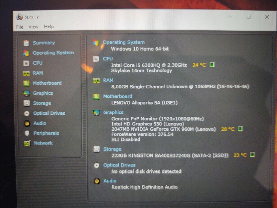 Lenovo Y700 GAMING, Intel Core i5-6300H GHz, 8 GB ram