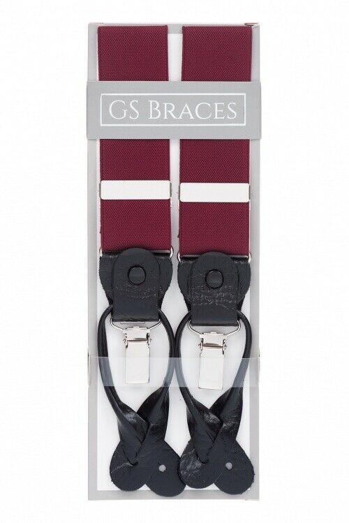 Burgundy 2 in 1 Trouser Braces Rolled Leather Ends Button & Clip XL