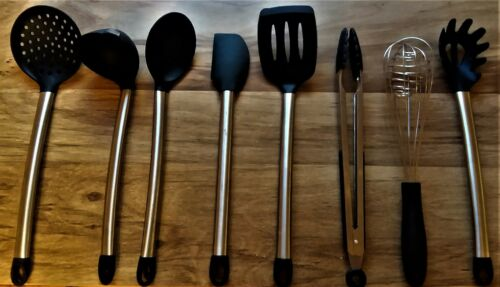 Kitchen Utensil Set Stainless Steel /& Silicone Cooking Ware 8 Piece Non-Stick