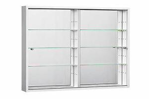 Image Is Loading Wide Large Wall Mounted Glass Display Cabinet Double