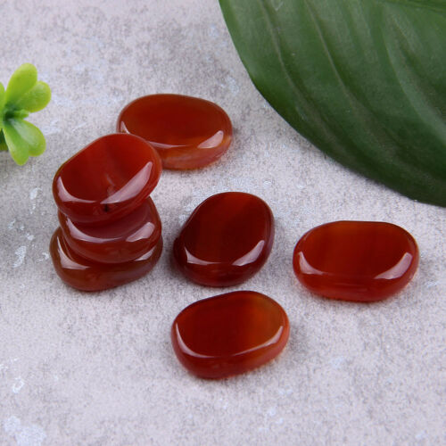 Carnelian Chakra Stone Set Polished Palm Stone Sold by 7pcs with one pouch