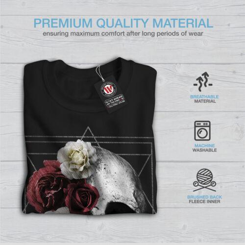Skull Black Flowers New Sweatshirt Rose Men p4qx40wUBr