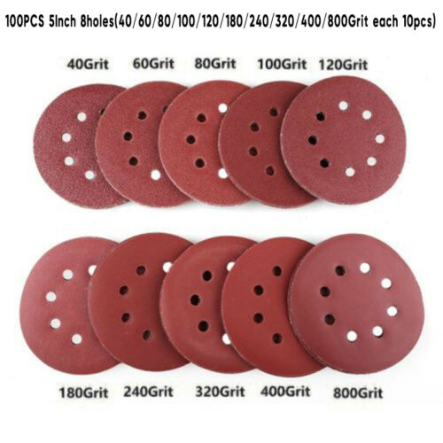 "100PCS 5/"" Sanding Disc Sander Sandpaper 40//60//80//100//120//180//240//320//400//800Grit"