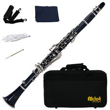 Aklot Bb Beginner Clarinet 17 Keys with Durable Dark Blue ABS Body with Reed