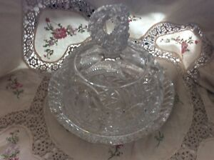 VINTAGE-HOFBAUER-BIRDS-CRYSTAL-DOME-COVERED-CANDY-BUTTER-DISH