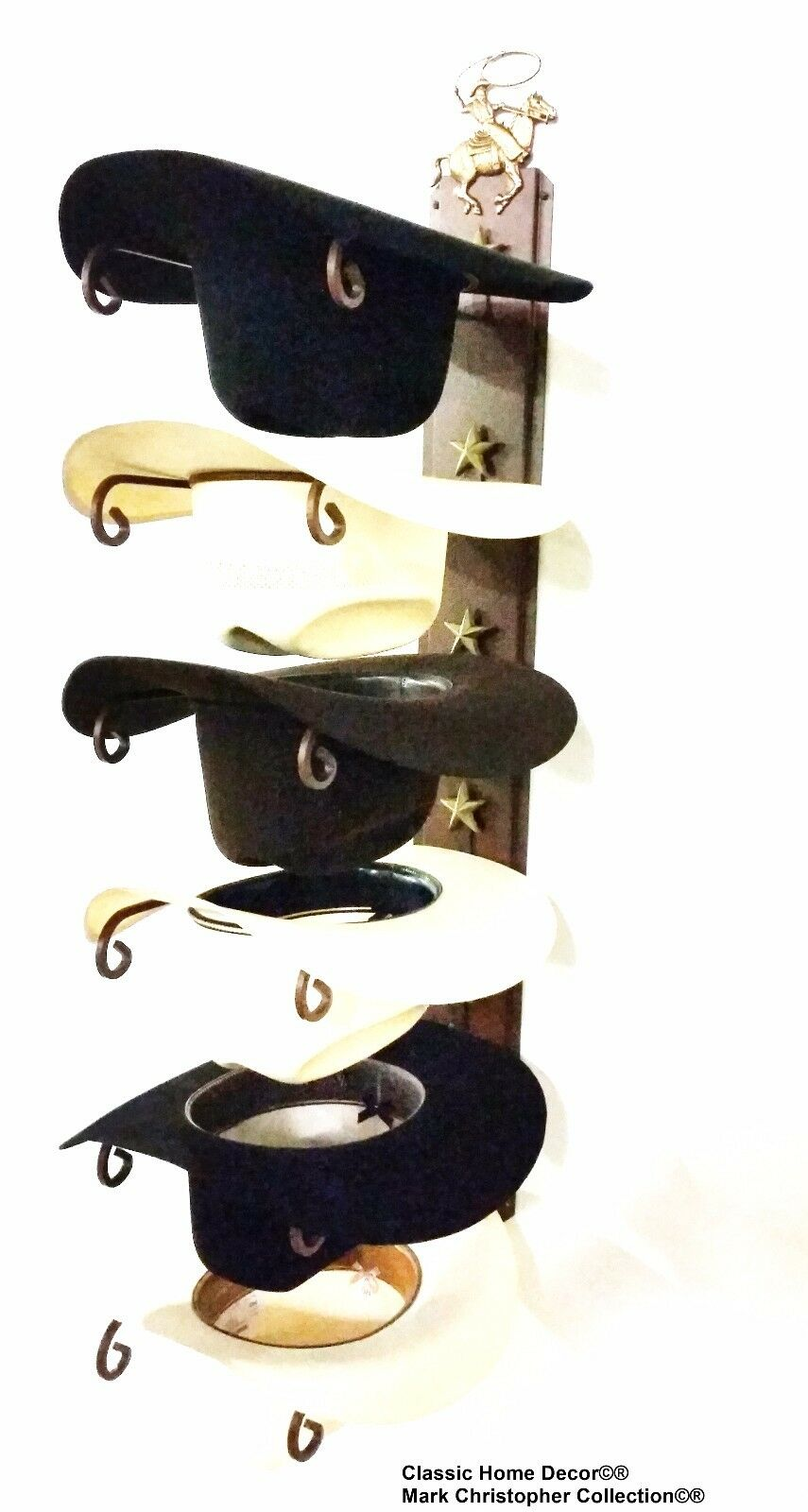 American Made Cowboy Hat Holder with Stars Powder Coated Roper
