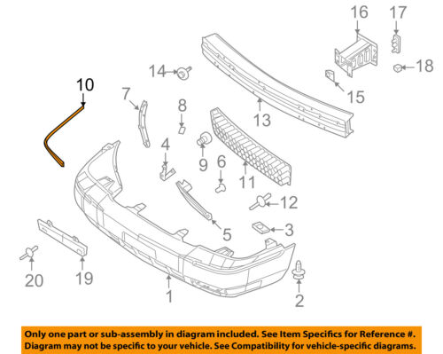 Mercury FORD OEM 07-11 Grand Marquis Front Bumper-Cover Molding 9W3Z17C829A