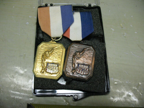 A. A. U. JUNIOR OLYMPICS SWIMMING MEDALS (2) GOLDTONE AND BRONZE