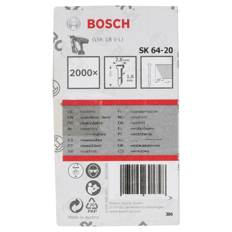 Bosch Senkkopf Nagel Stift SK64-20 NR 1.6 38 mm   für GSK 18 V-LI   2000 Stk