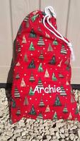 EMBROIDERED CHRISTMAS SANTA SACK PERSONALISED WITH NAME XMAS BAG STOCKING IN RED