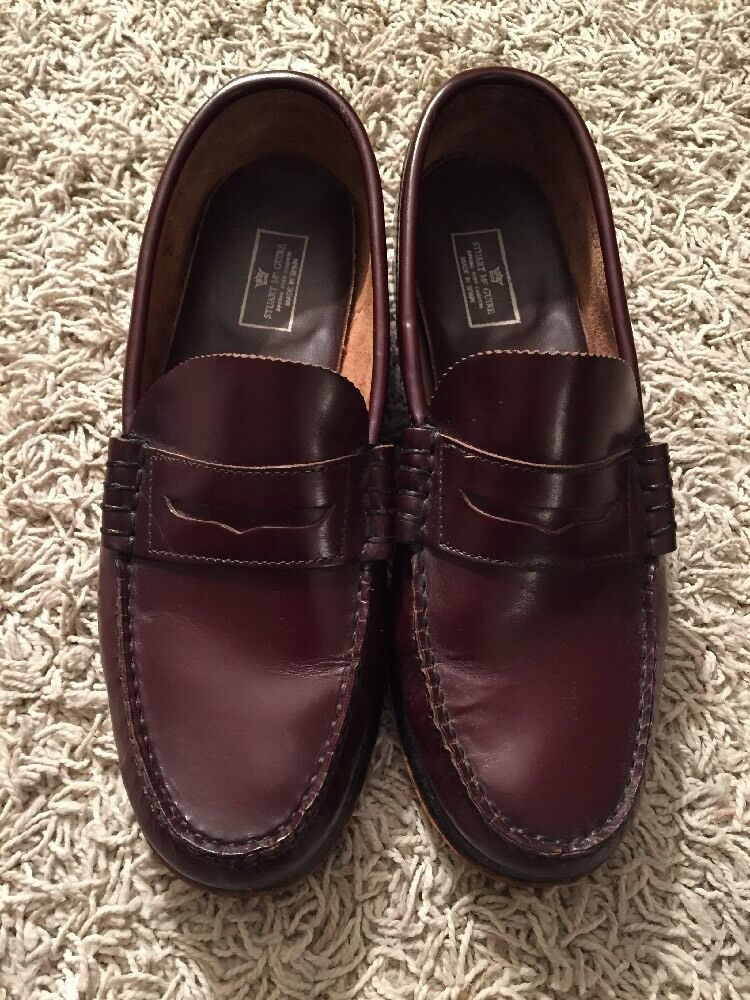 Stuart McGuire Mens Burgandy Leather Penny Loafer shoes, Size 8 1 2D